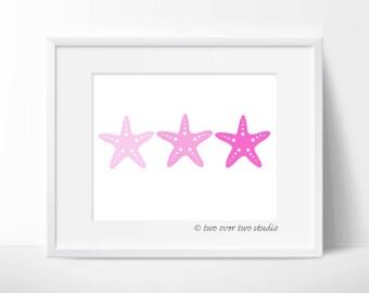 Pink Starfish Print: Digital Printable Art for Beach Decor, Nautical Nursery