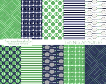 Tennis Digital Paper, Tennis Background, Tennis Racquet, Tennis Ball, and Tennis Court Pattern Paper for Birthday, Sports Theme Party