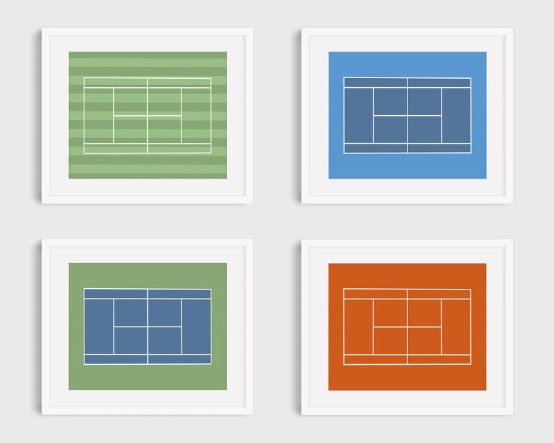 Tennis Court Prints Minimalist Tennis Court Print Wimbledon image 0