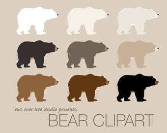 Bear Clipart, Woodland Clipart, Instant Download in Brown, Black, Polar White, Printable Bears for DIY Woodland Nursery