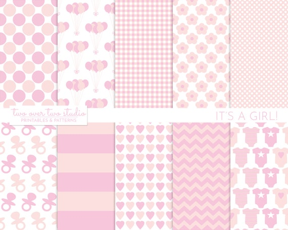 Baby Girl Digital Paper Pink Baby Shower Baby Girl Baptism Etsy