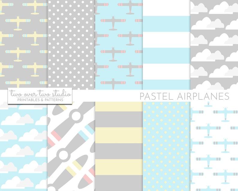 Pastel Airplane Digital Paper Plane Background or Backdrop image 0