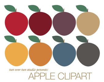 Apple Clipart, Fall Clip Art, Autumn, Instant Download in Fall Colors, Printable Apples