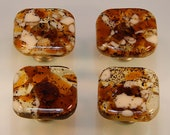 Decorative Fused Glass Cabinet Door Knobs - Furniture Drawer Pulls- Kitchen Hardware- Amber Transparent, Clear, Brown, Vanilla - KB19181A