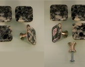 Decorative Colored Fused Glass Cabinet Door Knobs - Drawer Pulls - Kitchen Hardware - Lt Gray, White, Black, Clear, Light Peach - KB16125B