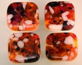 Decorative Colored Art Fused Glass Cabinet Door Knobs - Furniture Drawer Pulls - Kitchen Hardware - Orange Mix - KB161211D