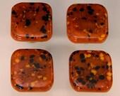 Decorative Colored Art Fused Glass Cabinet Door Knobs - Furniture Drawer Pulls - Kitchen Hardware - Burnt Orange, Black Mix - KB170511F