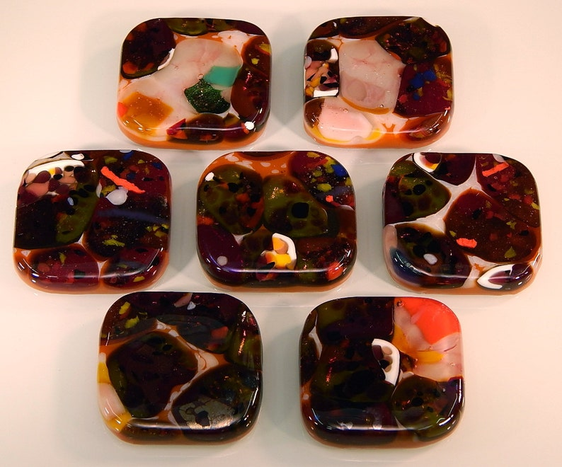 Kitchen Hardware Decorative Colored Art Fused Glass Cabinet Door Knobs Furniture Drawer Pulls KB162911F Mardi Gras Mix