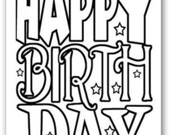 Happy Birthday Kid Set Of Coloring Greeting Cards