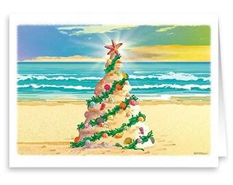 beach christmas tree beach theme christmas card 18 cards envelopes 30018 - Beach Christmas