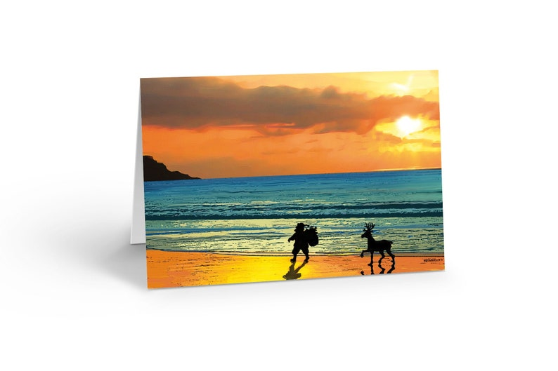 Beach Christmas Cards >> Beach Sunset Christmas Card 18 Cards Envelopes Beach Christmas Cards 30066