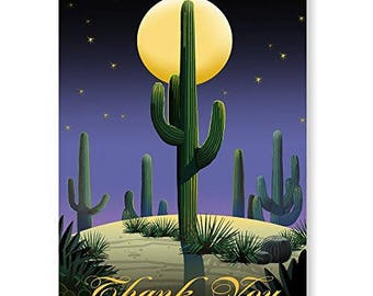 Desert Saguaro Thank You Note Card - 10 Boxed Cards & Envelopes - Western Note Cards - 14109a