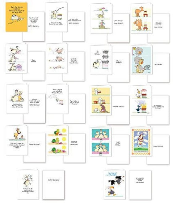 Assorted Funny Birthday Card Pack 18 Cards Envelopes 5x7