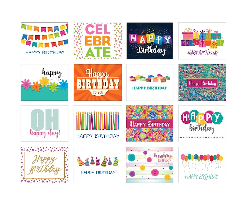 Birthday Cards 16 Different Designs Bulk