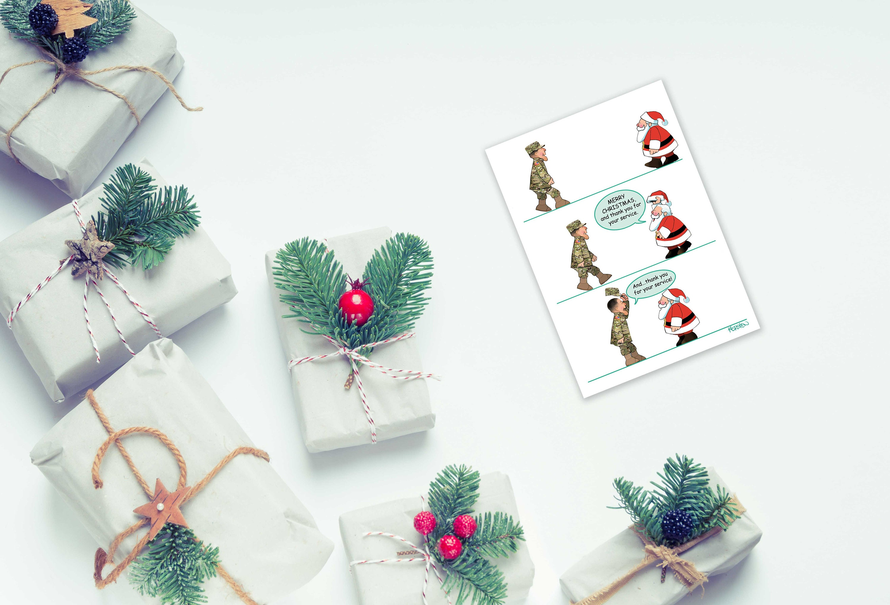 Thank You For Your Service Patriotic Christmas Card 18 | Etsy