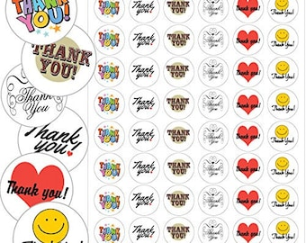"""Assorted Thank You Envelope Seals - 1.2"""" Thank You Stickers - 144 Stickers - 25120"""