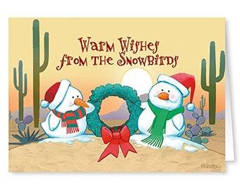 Desert Snowbirds Christmas Card -18 Western Theme Cards & Envelopes - KX324