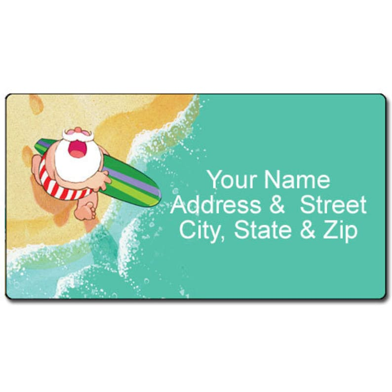 22093 Surfing Santa Personalized Return Address Label Christmas Fun-Customized Address Label