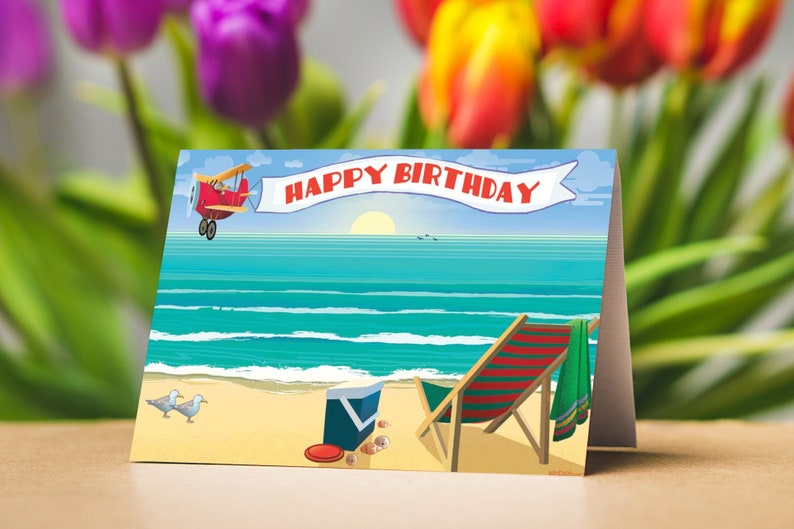 Beach Happy Birthday Card Pack 12 Cards And 13 Envelopes