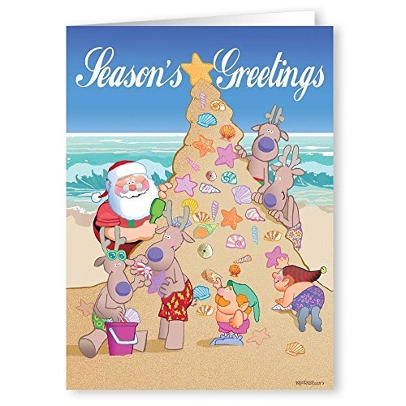 Beach Christmas Cards >> Sand Christmas Tree Beach Christmas Cards 18 Cards Etsy