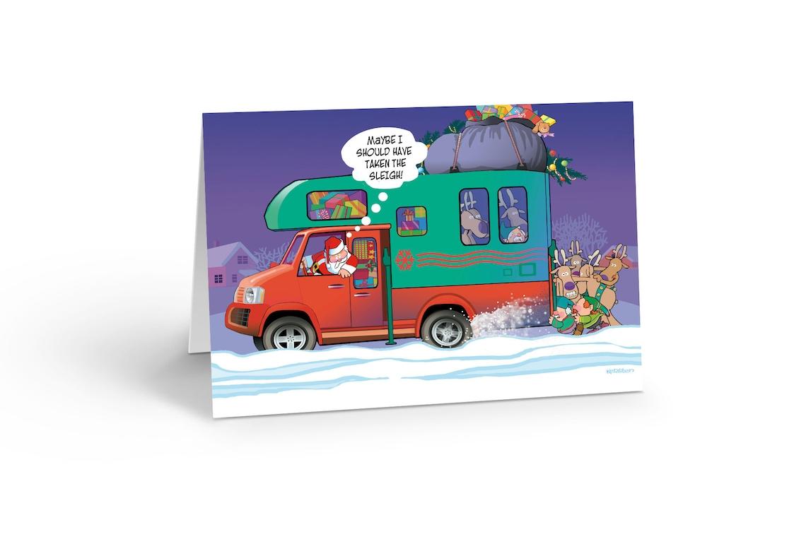 Santa Stuck In His RV Christmas Card Set of 18