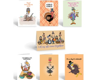 Thanksgiving Card Variety Pack - 14 Funny Thanksgiving Cards & Envelopes - 7 Humorous Thankgiving Designs - 922