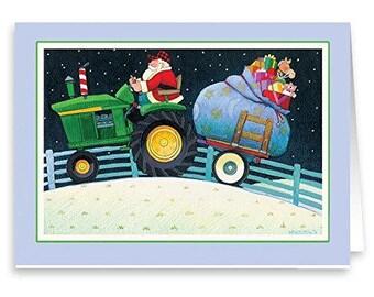 Farmer Santa on Tractor - 18 Cards & 19 Envelopes - 20063