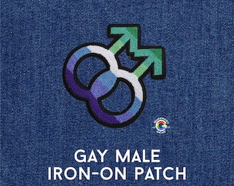 Gay Male Patch, MLM Symbol, Iron on Patch, LGBTQA+, Gift for Gay Son, Gay Man Accessory, Gay Pride Patch, MLM Patch, Gay Male Flag, Queer