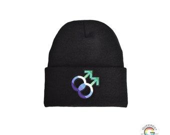 Gay Male Beanie, Gay Pride Symbol, Gay Male Flag Beanie, Black Gay Male Beanie, Gay Male Hat, Fall Fashion, Winter Beanie, Male Loving Male