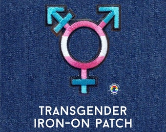 Transgender Patch Trans Symbol Iron on Patch LGBTQA+ Trans Man Trans Woman Trans Boy Trans Girl Nonbinary Transgender Pride Trans Fashion