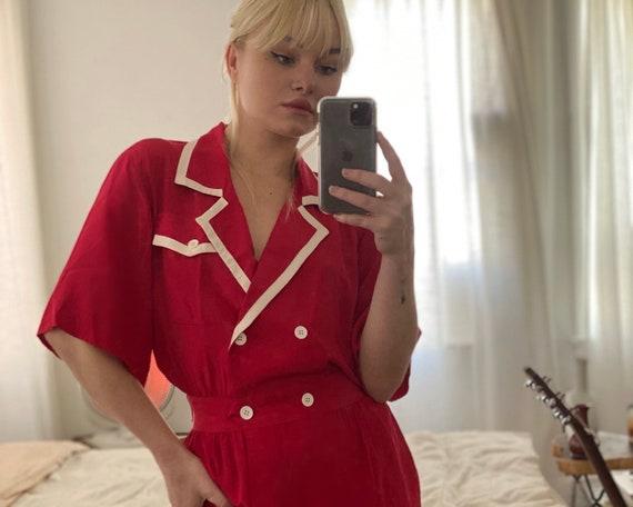 1980s Red Silk Nautical Swing Dress