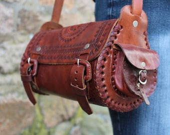 Guatemalan hand tooled cognac leather crossbody round saddlebag rustic purse bag messanger chocolate