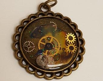 SteamPunk Gear Necklace Pendant