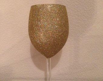 Glitter Wine Glass Gold