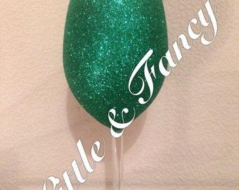 Glitter Wine Glass Green