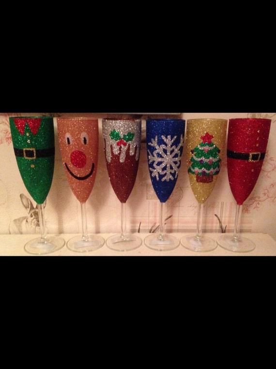 2018 Christmas glitter wine glasses personalised santa reindeer pudding elf
