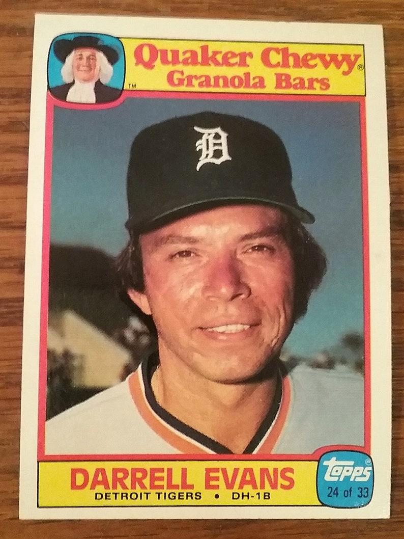 1986 Topps Quaker Chewy Granola Bars Baseball Card Darrell Evans