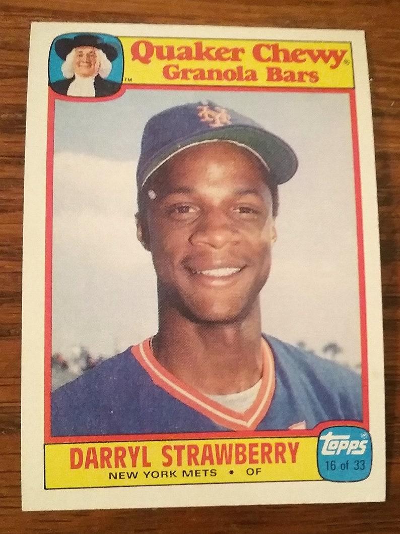 1986 Topps Quaker Chewy Granola Bars Baseball Card Darryl Strawberry