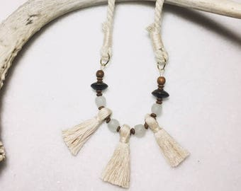 Trio Tassel Necklace | Beaded Necklace, Handmade Tassels with Glass and Wooden Beads on a Smooth Cotton Rope Strap