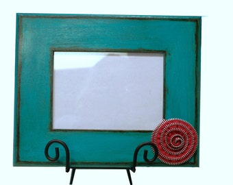 Turquoise 5x7 Wooden Picture Frame