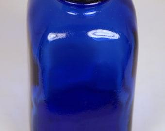 Vintage Cobalt Blue Glass Square Apothecary Bottle