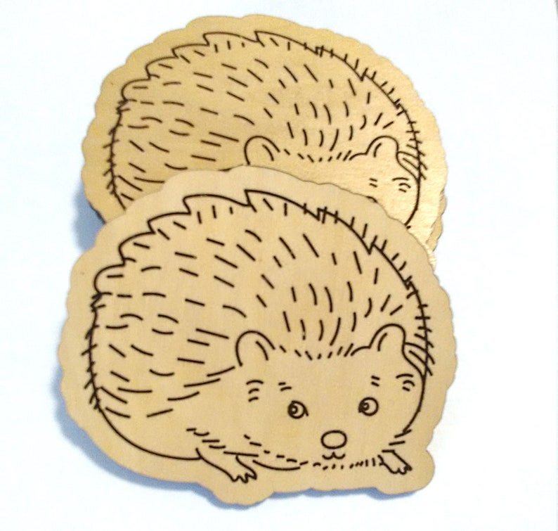 15. Individual Wooden Hedgehog Coaster
