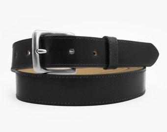 One-Piece Black Shell Cordovan Leather Belt - 1.25'' W