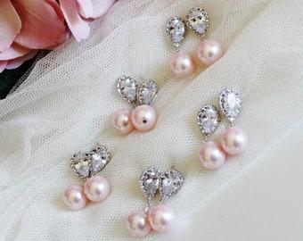 Blush Pink Bridesmaid Earrings Set of 3,4,5,6,7,8,9 Pink Wedding Earrings, Bridesmaid Gift Set Pink Pearl Earrings Wedding Gift Idea E108