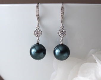 Tahitian Pearl Earrings, Beach Wedding Bridesmaid Gift Earrings, Something Blue Swarovski Pearl Earrings E105