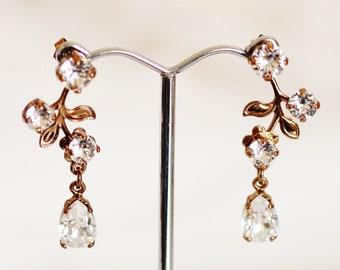 Vintage Gold Bridal Earrings, Bronze Leaf with Swarovski Crystal Drop Earrings, Romantic Wedding E202