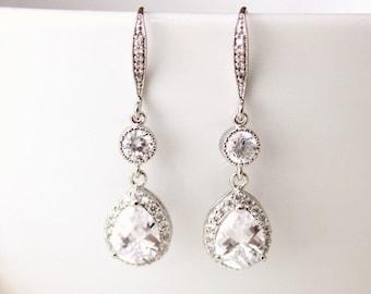 Wedding Jewelry, Bridal Earrings, Crystal Wedding Earrings, Cubic Zirconia, Dangle Drop Earrings, Bridal Jewelry, E115