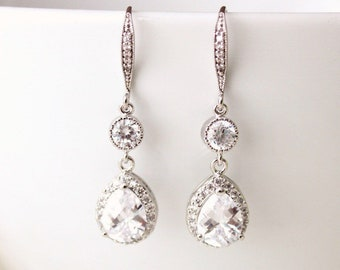 Wedding Jewelry, Bridal Earrings, Crystal Wedding Earrings, Cubic Zirconia, Dangle Drop Earrings, Bridal Jewelry, Bridesmaid Gift E115