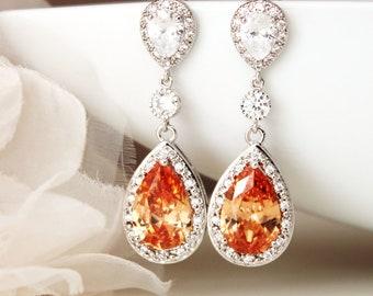 Fall Wedding Earrings, Crystal Orange Earrings, Champagne Earrings, Long Drop Bridal Earrings Mother of the Bride Formal Prom Jewelry E120