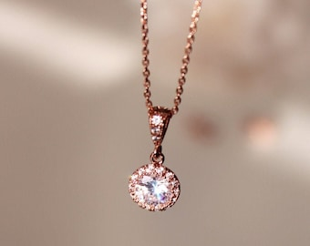 Petite Rose Gold Crystal Necklace, Delicate Lux Cubic Zirconia Rose Gold Wedding Bridesmaid Gift Necklace N101